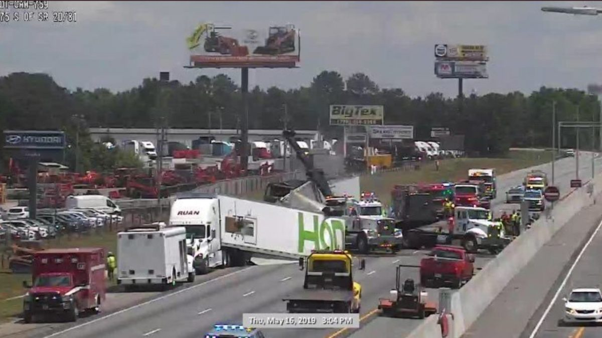 Two people are killed in fiery tractor-trailer crash on i-75